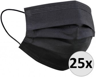 QJM Disposable 3-layer Protective Hygienic Face Mask Black 25pcs