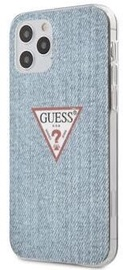 Guess Denim Triangle Back Case For Apple iPhone 12/12 Pro Light Blue