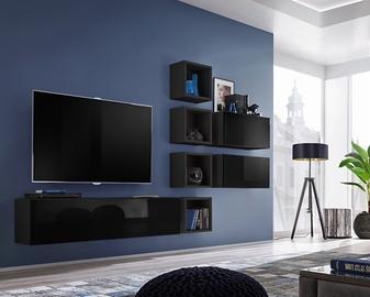 ASM Blox VII Living Room Wall Unit Set Black