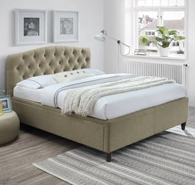 Home4you Zeta Bed w/ Mattress Olympia Top 160x200cm Beige
