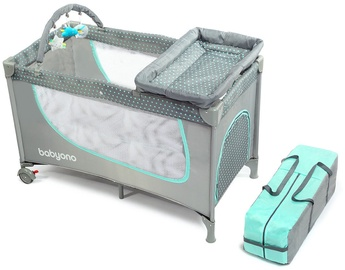 BabyOno Travel Bed Gray/Mint