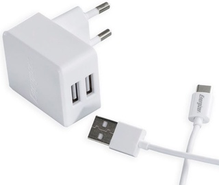 Energizer Hightech Dual USB Wall Charger + USB Type-C Cable White