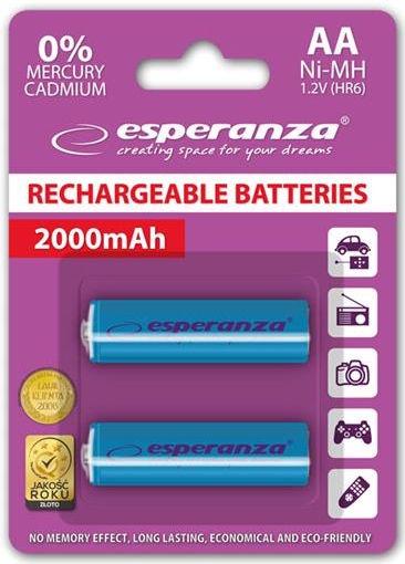 Esperanza Rechargeable Batteries 2x AA 2000mAh Blue