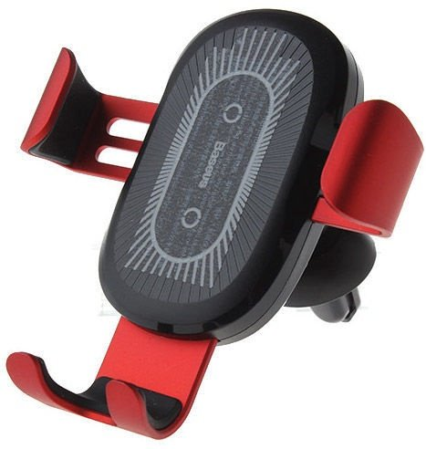 Baseus Gravity Car Mount With Wireless Charger Red