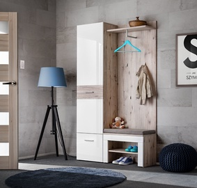 ASM Gustavo V Hallway Wall Unit Set Gloss White/Wellington Oak