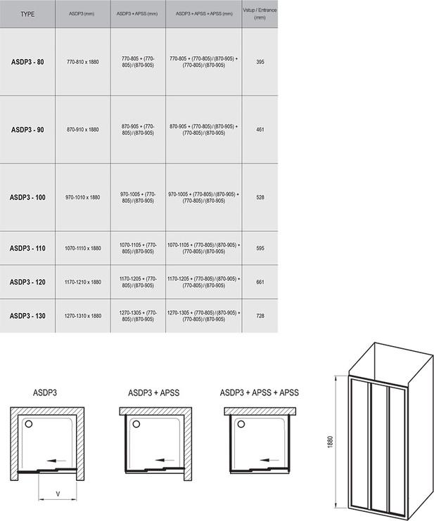 Dušiuksed Ravak ASDP3-100