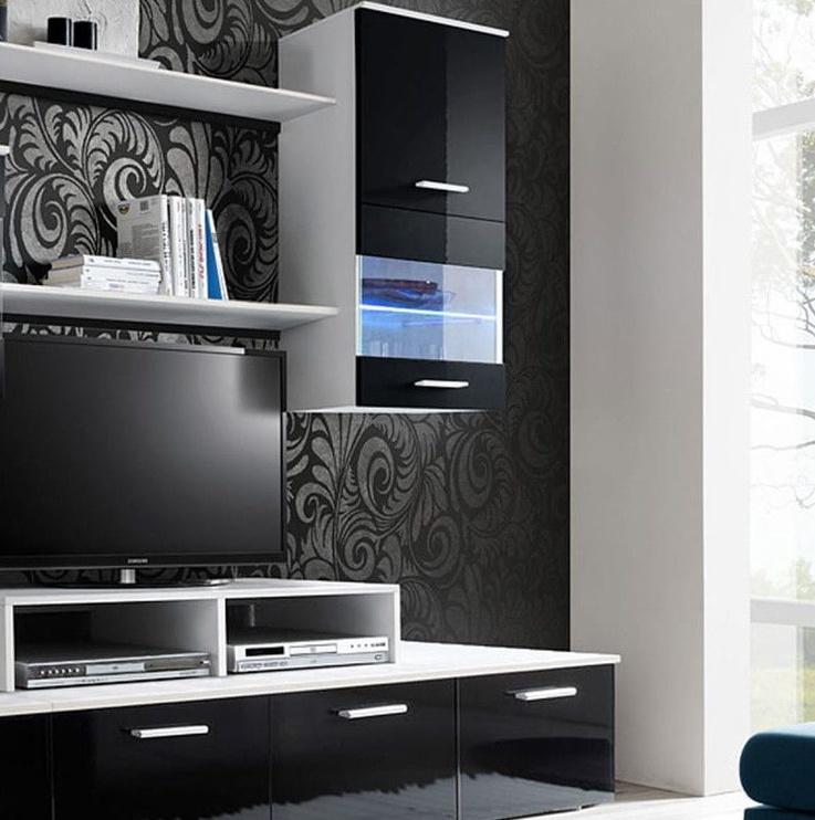 ASM Logo II Living Room Wall Unit Set LED White/Black