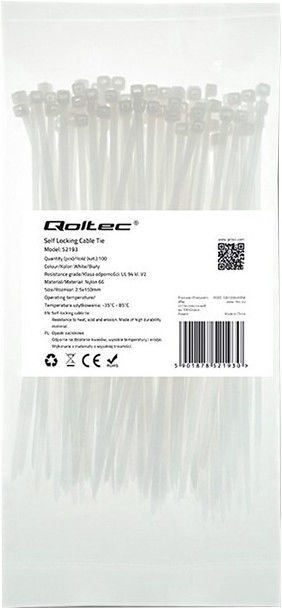 Qoltec Zippers Nylon UV 7.2x400mm 100pcs. White