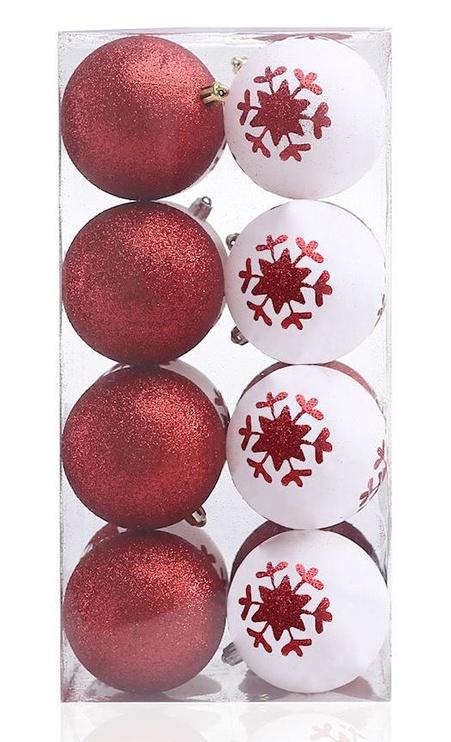 Jõulupuu ehe DecoKing Cherry White/Red, 16 tk