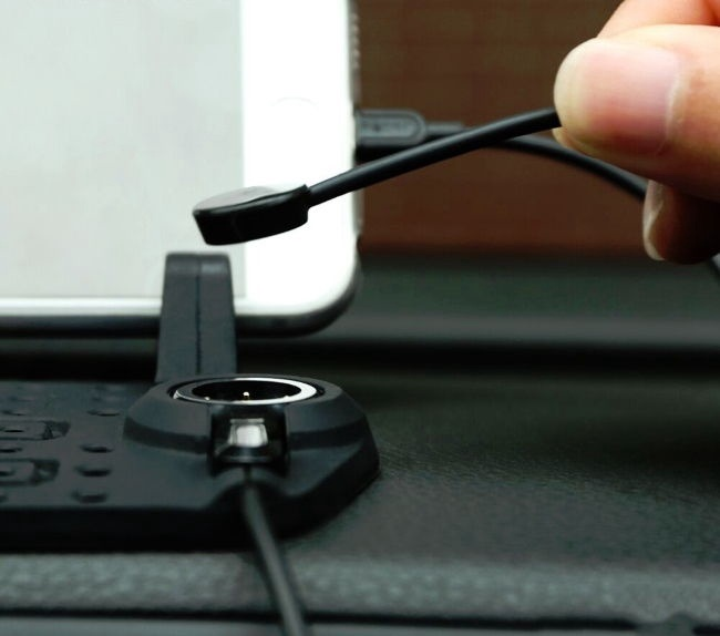 Remax Car Panel Silicone Stand With Magnetic Lightning/Micro USB Cable Charger Dock Black