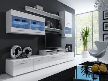 Cama Meble Wall Unit Logo II White/White Gloss