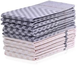 DecoKing Louie Check & Art Towel Set 50x70 Cream & Charcoal 10pcs