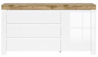 Black Red White Holten Chest Of Drawers White/Sonoma Oak