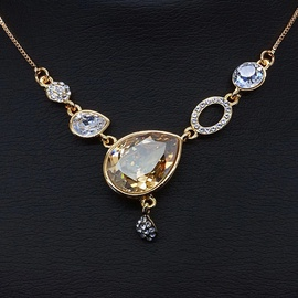 Diamond Sky Pendant Drops Of Champagne With Swarovski Crystals