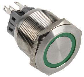DimasTech Push Button 25mm Silverline Green