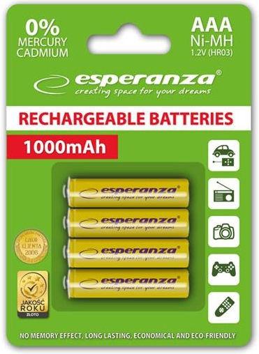 Esperanza Rechargeable Batteries 4x AAA 1000mAh Yellow