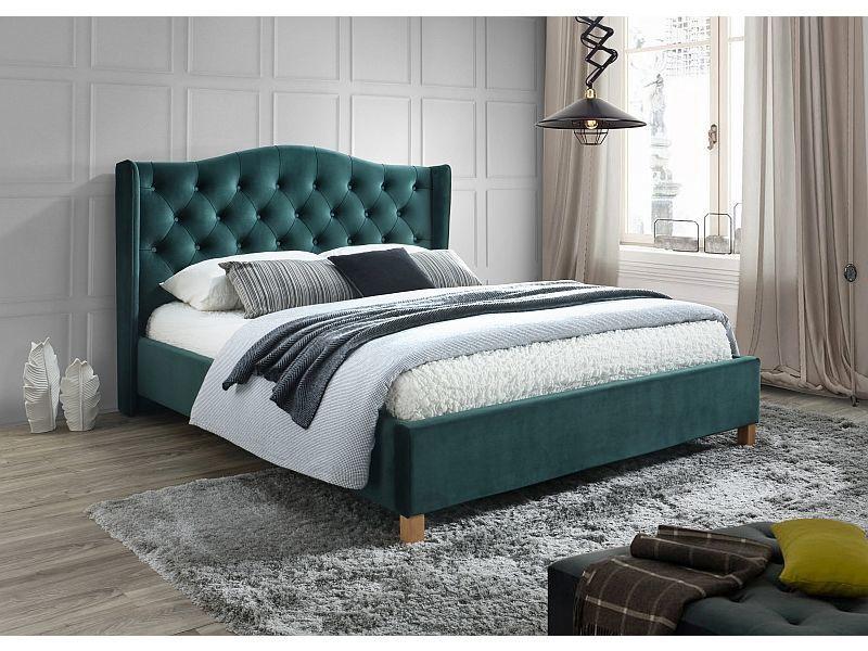 Кровать Signal Meble Aspen Velvet Green, 160 x 200 cm
