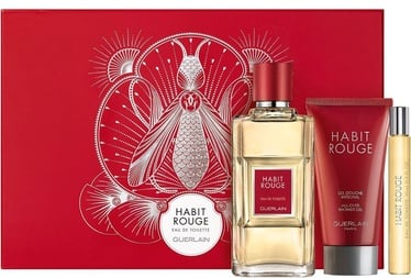 Komplekt meestele Guerlain Habit Rouge 100 ml EDT + 75 ml Shower Gel + 10 ml EDT