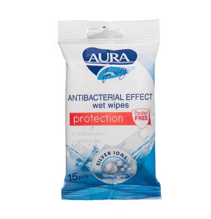 Aura Family Wet Wipes Antibacterial 15pcs