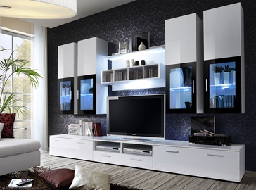 ASM Lyra Living Room Wall Unit Set White