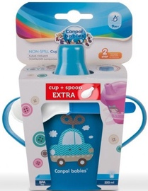 Canpol Babies Non-Spill Cup 250ml With Spoon Blue