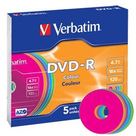 Verbatim DVD-R 16X 4.7GB 5P Colour AZO Slim Box
