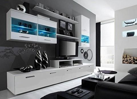 Cama Meble Wall Unit Logo II With Lights White