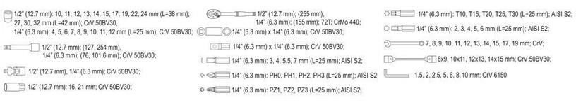 Yato YT-38781 Tool Set 1/4'' 1/2'' 77pcs