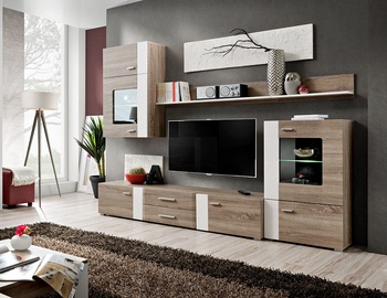 ASM Aleppo Living Room Wall Unit Set Truffle Oak
