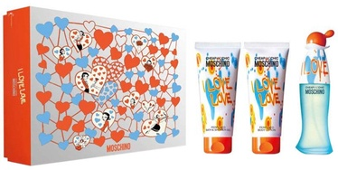 Moschino I Love Love 50ml EDT + 100ml Body Lotion + 100ml Shower Gel New Desgin