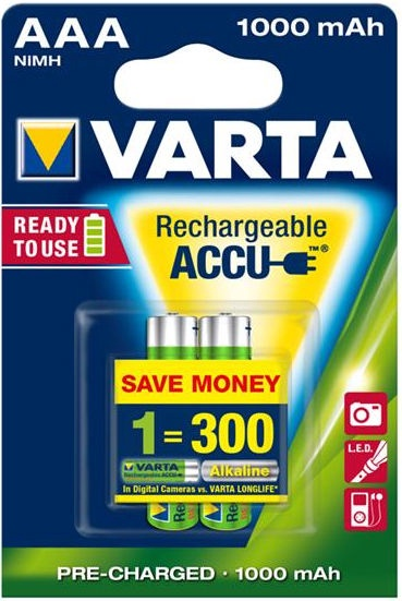 Varta Rechargaeble Batteries AAA 2x 1000mAh