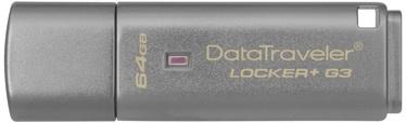 USB mälupulk Kingston DataTraveler Locker+ G3, USB 3.0, 64 GB