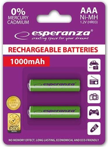 Esperanza Rechargaeble Batteries 2x AAA 1000mAh Green