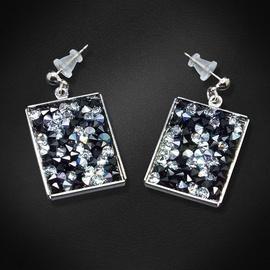 Diamond Sky Earrings With Crysals From Swarowski Crystal Mosaic Bermuda Blue & Black