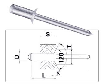 Tõmbeneedid Vagner SDH 32689, 4,8 x 16 mm, Al, 50 tk