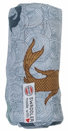 Lodger Swaddler Empire Fish 120x120cm Dusty Turquoise