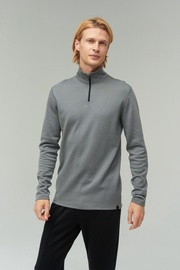 Audimas Merino Wool Blend Half-Zip Jumper Steel Gray M