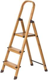 Tatkraft Aluminum 3-Step Ladder Wood Style
