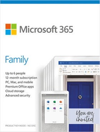Microsoft Office 365 Family Retail 1-Year Russian License Medialess