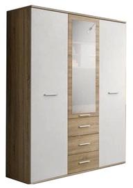 Riidekapp ASM Dino 3D3S White/Sonoma Oak, 135x55x191 cm, peegliga