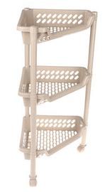 Plast Team Triangular Trolley With 3 Baskets 38.5x26x15/68cm Brown