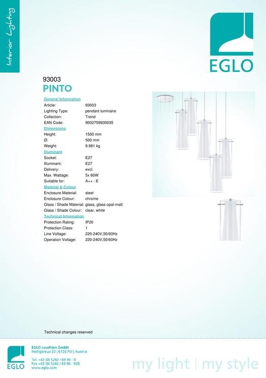 Rippvalgusti Eglo Pinto 93003, 5 x 60 W, E27