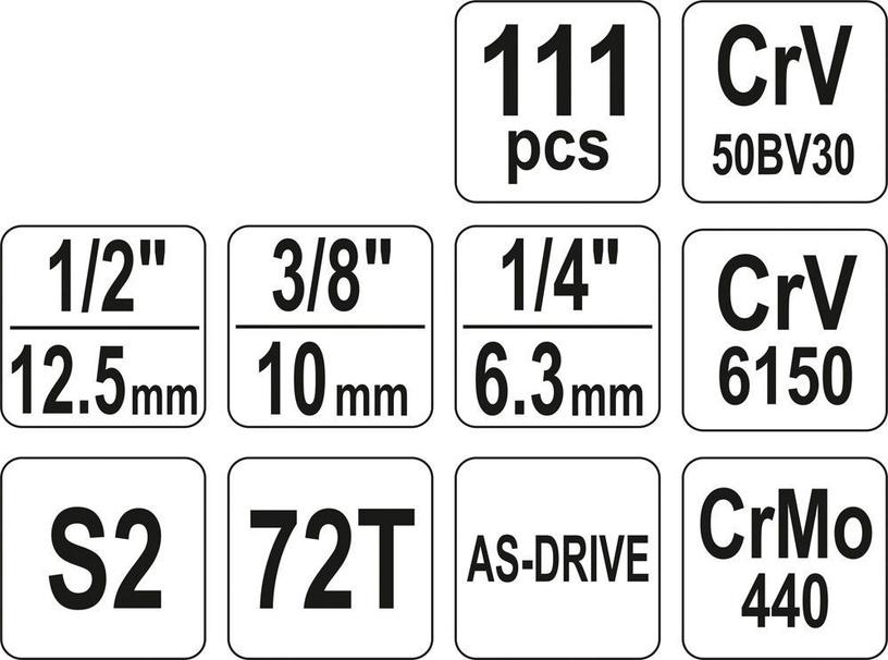 Yato YT-38831 Tool Set 1/4'' 1/2'' 3/8'' 111pcs