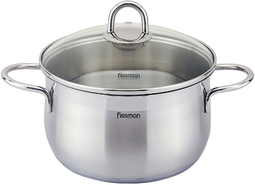 Fissman Monica Stainless Steel 16x9.5cm Casserole 1.9L With Glass Lid 5401