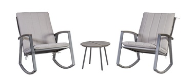 Home4you Loki Table And 2 Rocking Chairs Grey