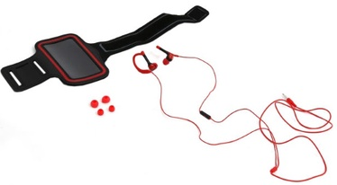 """Platinet 2in1 In-Ear Sport Stereo Headset + Armband Smarthone Case 5"""" Max Red"""