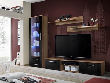 ASM Galino A Wall Unit Plum/Black Gloss