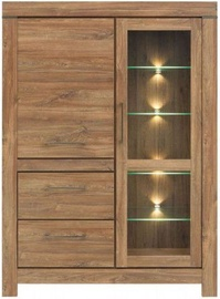 Black Red White Gent Glass Door Cabinet 115x158x42cm Stirling Oak