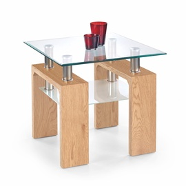 Kohvilaud Halmar Diana H Kwadrat Golden Oak/Glass, 600x600x550 mm