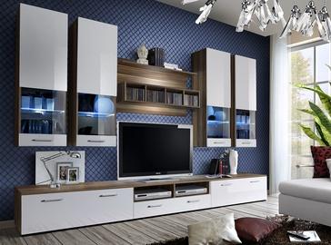 ASM Dorade Living Room Wall Unit Set White/Plum